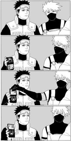 Kakashi and Obito have a Supernatural moment Naruto Naruto Kakashi, Naruto Uzumaki Shippuden, Naruto Anime, Naruto Cute, Otaku Anime, Madara Uchiha, Photo Naruto, Anime Meme, Team Minato
