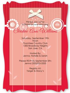Love is Blooming Red -  Personalized High Quality Vellum Overlay Bridal Shower Invitations With Squiggle Shape $2.19