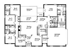 one story five bedroom home plans Home Plans HOMEPW72132 4457