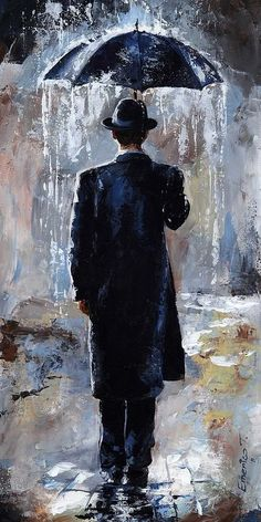 Rain Art Print featuring the painting Rain Day - Bowler Hat by Emerico Imre Toth Rain Days, Umbrella Art, Umbrella Painting, Painting & Drawing, Rain Painting, Knife Painting, City Painting, Painting Canvas, Painting Abstract