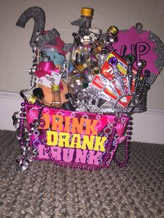 I Made This 21st Birthday Basket For My Friend She Absolutely Loves It Included Candy Chocolate Especially 6 Shot Bottles Variety Nail Polish
