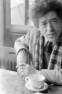 Giacometti in the café on the Rue Alesia, where he always took his morning coffee.  Paris, 1960.