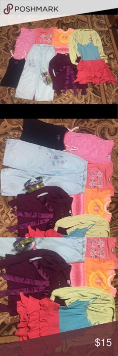 Huge Lot of 12 Girls Items Sizes 12-16 Great Deal! A great deal for your little one! No swaps. Yes to bundles.  Includes: - Size 12 limited too teal bedazzled Tank Top - Size large pink and silver stripe Tank Top - Green izod sweater - patriotic star Tank Top - Limited Too pink frilly skirt - 80's vintage garden flower shirt - Light blue capris - Orange/pink butterfly shirt - Long sleeve purple shirt  -Three duct tape decorated head bands  Flaws: capris have light stain, green Izod sweater…
