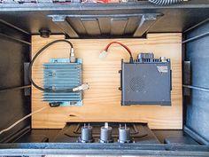 Two meter amp and radio in position on board. Ham Radio Kits, Tool Box On Wheels, Go Kit, John Wright, Emergency Preparedness, Building, Amp, Board, Radios