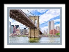 American Architecture Framed Print featuring Take The Brooklyn Bridge Into Manhattan by Mark E Tisdale