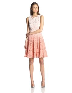 Trina Turk Women's Carpentaria Dip-Dye Lace Fit-and-Flare Dress at Amazon Women's Clothing store: