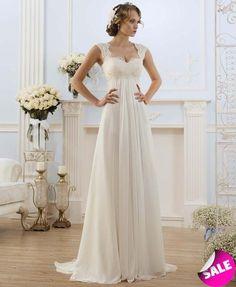 Simple V-neck Pleated Lace Vestidos De Novia A-line Beach Chiffon Long Wedding  Dresses 2018 Robe De Marriage Bridal Gowns 85b811c7a01e