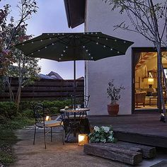 【ガーデンファニチャー】太陽光蓄電式ガーデンパラソル