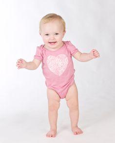 Baby bamboo onsie, pink paisley heart Doodlebug Summer 2014 www.ilovedoodlebug.com.au