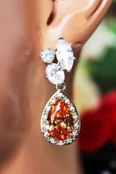 Crystal Champagne Wedding Earrings Cubic by AuroraJewelryBox