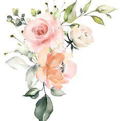 'Pink Peach Watercolor Roses Arrangement' by junkydotcom Art Floral, Watercolor Rose, Watercolor Paintings, Flower Frame, Flower Art, Rose Arrangements, Beautiful Rose Flowers, Floral Wedding Invitations, Clipart