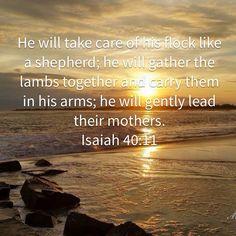 Isaiah He will take care of his flock like a shepherd; Bible Verses About Faith, Bible Verses Quotes, Bible Scriptures, Faith Quotes, Bible Text, Soli Deo Gloria, Inspirational Prayers, King James Bible, Bible Prayers