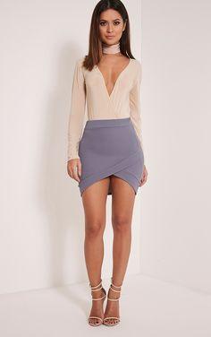 Gabriella Grey Asymmetric Mini Skirt