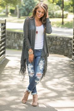 Warms My Heart Fringe Cardigan Charcoal