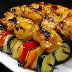 Honey Chicken Kebabs- I marinated whole chicken breasts and grilled them whole too-delicious.