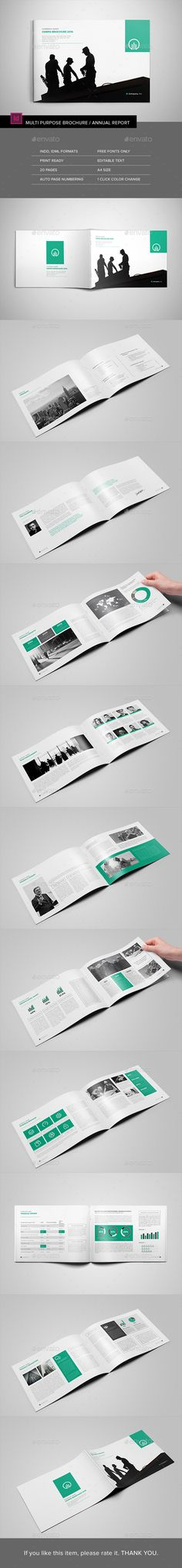20 Pages A4 Size Landscape Multipurpose Brochure Template InDesign INDD. Download here: http://graphicriver.net/item/landscape-multipurpose-brochure/15613396?ref=ksioks