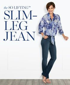 Slims in front. Lifts in back. It's the new So Lifting™ Slim-Leg Jean.
