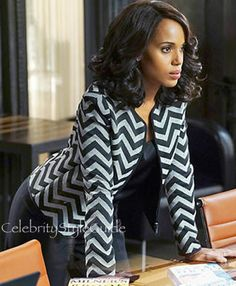 Kerry Washington as Olivia Pope Shows Impeccable Style In A Chevron Jacket On Scandal
