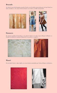 Telas 5 Con Dibujo (Brocado_ Damasco_Moaré Fabric Names, Fabric Yarn, How To Dye Fabric, Fashion Fabric, Diy Fashion, Fashion Tips, Fashion Design, Model Sketch, Modelista