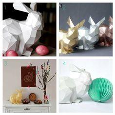 paper easter bunny statue ( with printable ) // Papír nyúl szobor - húsvéti dekoráció ( nyomtatható ) // Mindy - craft tutorial collection // Origami Paper, Diy Paper, Paper Art, Diy Origami, Paper Bunny, Diy Tumblr, Easter Printables, Hoppy Easter, Diy Blog