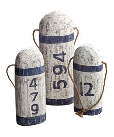 Look what I found on #zulily! White & Blue Wood Home Port Buoy Set by Prinz #zulilyfinds