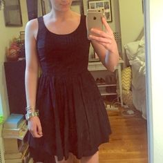 """Black LC Lauren Conrad Fit & Flare Dress Black cotton dress from the LC Lauren Conrad collection. The back of this dress is my favorite on any dress I've owned, but it's slightly too short for me to wear to work these days.  I'm 5'5"""". Size 4, but I typically wear a 2. LC Lauren Conrad Dresses"""