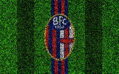 Download wallpapers Bologna FC, 4k, logo, football lawn, Italian football club, blue red lines, emblem, grass texture, Serie A, Bologna, Italy, football