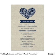 Wedding Rehearsal and Dinner | Navy Rustic