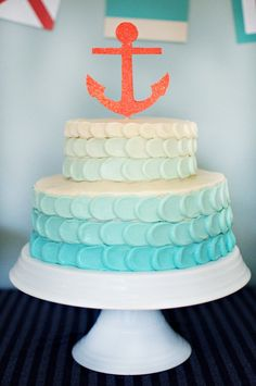 Creative nautical baby shower coral & aqua cakes,cupcakes,ca Nautical Cake, Nautical Party, Nautical Baby Shower Cakes, Aqua Cake, Ombre Cake, Anchor Cakes, Petal Cake, Baby 1st Birthday, Baby Sprinkle