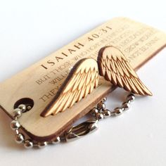 Laser Cut Christian Jewelry. Isaiah 40:31 Wooden Wing Earrings & Keychain by TCMBDesign on Etsy.