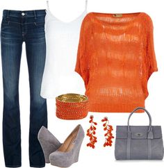 """Orange Slouch Top"" by annevt ❤ liked on Polyvore"