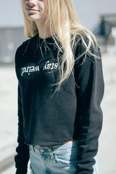 Brandy ♥ Melville | Nancy Stay Weird Embroidery Sweatshirt - Graphics