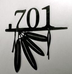 Custom metal house number feather peace pipe by GlamorousFindings, $45.50
