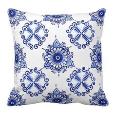 Blue Delft Artist's Patterns | Chic Delft Blue Floral Design. Pretty and trendy throw pillow ...