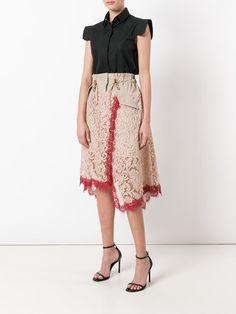 Sacai lace overlay military waist skirt
