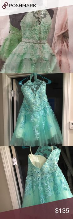Beaded Mint Dress Never Worn Brand New Mint Green dress with Lime Green under layer. Never worn, perfect condition. Love the dress just went with something more fitting for the occasion and have no use for this dress anymore. Between sizes 10-14 US Women's sizing. Dresses