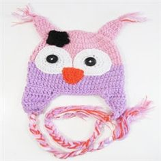 Lavender and pink Owl Crochet Animal Hats by Passion4Expression, $10.00