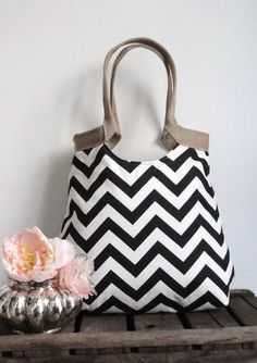 Hand Bag Purse Black and white chevron carry on hobo bag with burlap FASHION. $65.00, via Etsy.