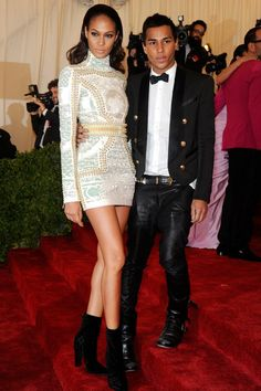 Joan Smalls in Balmain and  Olivier Rousteing on the red carpet at MET GALA in 2012