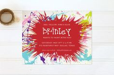 Art Birthday Party Invitations  Coloful Splatter by felicitypaper