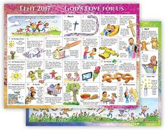 2017 Lent Calendar for Children  LOWSTOCK - CALLFORAVAILABILITY  Count down the days to Easter with stories from scripture, feast day reflections, and simple activities in this inviting calendar. Each day, follow God's love for us through the Lenten gospels. Colorful illustrations take children through the Lenten season to Easter morning! Makes a great addition to any refrigerator or bulletin board.  8-1/2 x 11, Sold in multiples of 50