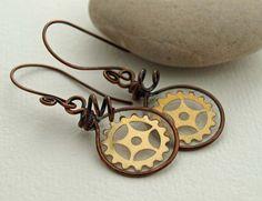 Wire framed gears in resin earrings. by DragonflyDreamers