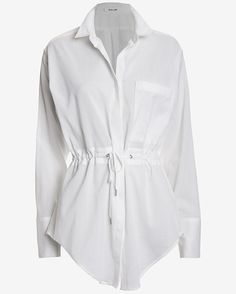 Helmut Lang Mist Drawstring Waist Top: An eloganted and loose silo makes for a delicate blouse option. Button placket. Cuffable long sleeves. Double drawstrings at waist. Shirttail hem. Semi sheer. In white. Fabric: 100% cotton Length from shoulder to hem: 35 for size small  Made in ...