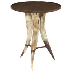 Marlin Global Bazaar Horn Side End Table | Shop Home Decor | Art & Home  ||  The Marlin Global Bazaar Horn Side End Table from Kathy Kuo Home will become a marvelous addition to your well-appointed home. Part of Art & Home's complete End Tables collection. Oversized Furniture, Eclectic Furniture, Large Furniture, Unique Furniture, Chair Side Table, Round Side Table, End Tables, Texas, Rustic Farmhouse Furniture