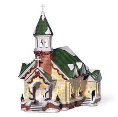 This stone steeple church reminds fairies of little country churches from their childhood. With a steeple of stone bricks and holiday garlands, the fairies would absolutely adore this church! Department 56 Christmas Village, Dept 56 Snow Village, Villas, Light Building, Christmas Villages, Home Decor Accessories, Stone, Christmas Ideas, Collection