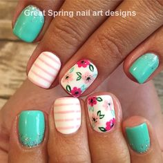 Nail Care For Men inside Nail Designs For Short Nails Pictures till Nail Art Design 2019 Pig Cute Summer Nail Designs, Cute Summer Nails, Nail Designs Spring, Nail Art Designs, Summer Gel Nails, Flower Nail Designs, Spring Nail Art, Striped Nail Designs, Striped Nails