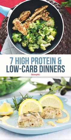 7 High Protein & Low-Carb Dinners Opting for low-carb, high protein recipes can boost your health and help with weight loss since your menu will contain fewer sugary foods, pasta, and bread. Clean Eating Dinner, Clean Eating Recipes, Clean Eating Snacks, Healthy Dinner Recipes, Healthy Dinners, Paleo Recipes, Easy Recipes, High Protein Low Carb, High Protein Recipes