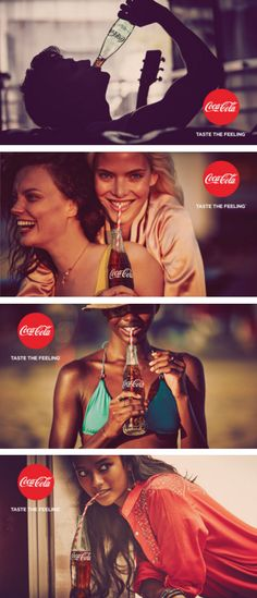 """Coca-Cola's """"Taste the Feeling"""" print and out-of-home campaign, 2016. Photographed by Guy Aroch and Nacho Ricci."""