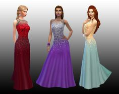 My Sims 4 Blog: Long Dress Flare Sequin Scatter for Teen - Elder Females by Kiara24