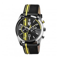 Ferrari Analogies Chronograph Black Leather Wristwatch For Men. Ferrari Watches For Men. Gents Watches, Sport Watches, Watches For Men, Ferrari Watch, Ferrari Scuderia, Ferrari Laferrari, Yellow Quartz, Rubber Watches, Watch Sale